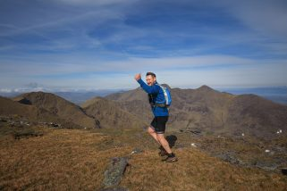 David O'Halloran, on Cnoc na Péiste (988 m)  participating in The Killarney Ultimate High Peaks Challenge,