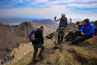 Come on Derry Boy!…Noel Crowley encourages his climbing mate Derry Falvey, on Cnoc na Péiste (939 m)